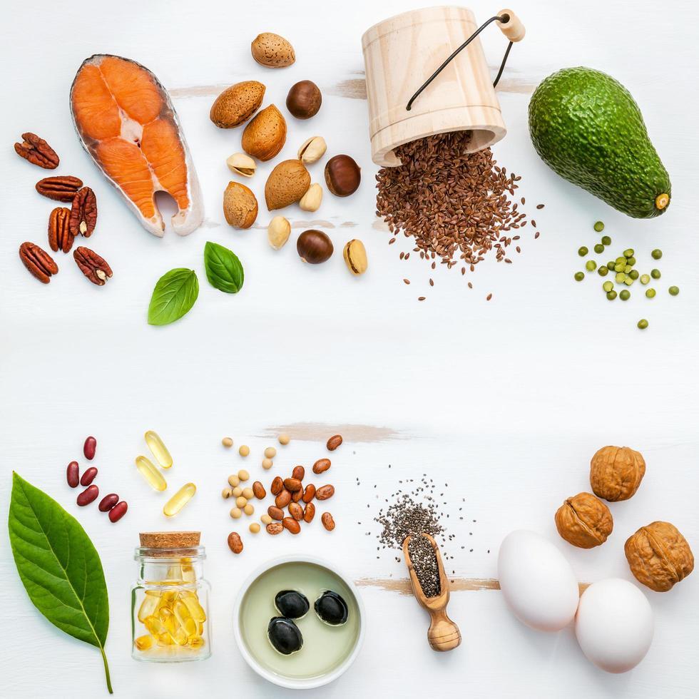 Fresh ingredients on a shabby white background photo