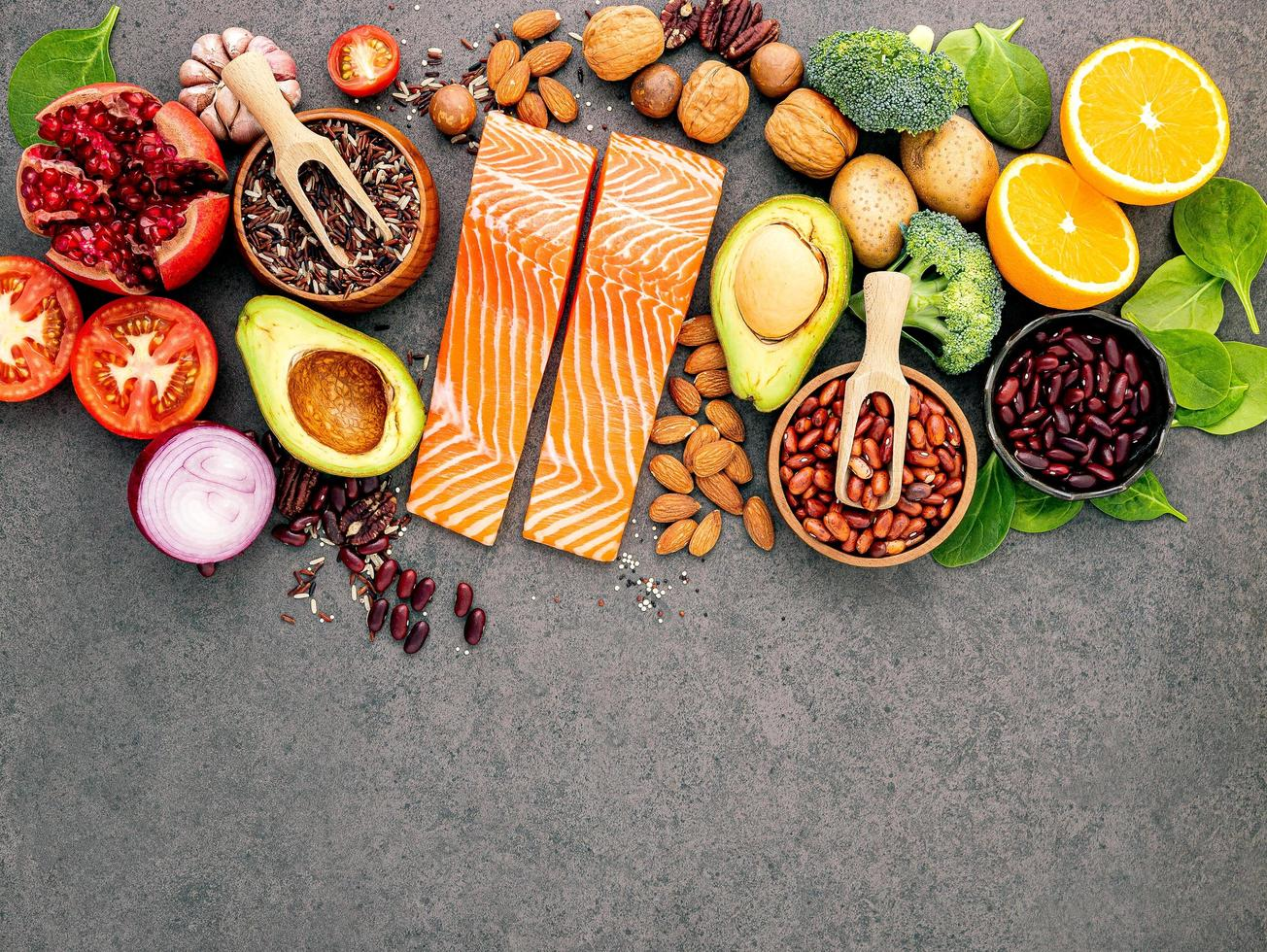 Group of fresh ingredients with salmon photo