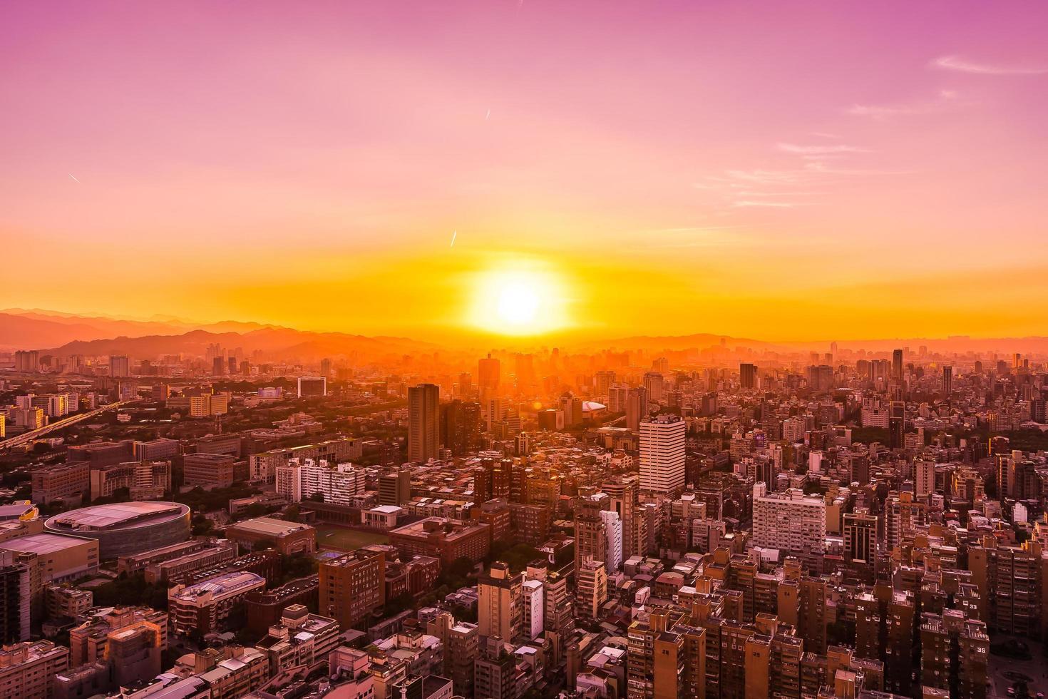 Aerial view of Taipei city, Taiwan photo