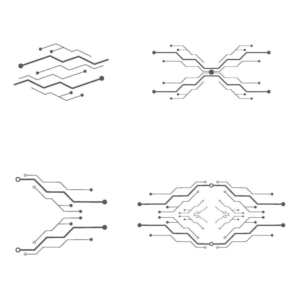 Circuit logo design set vector