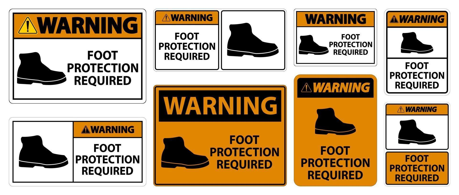 Warning Foot Protection Required Wall Symbol Signs vector