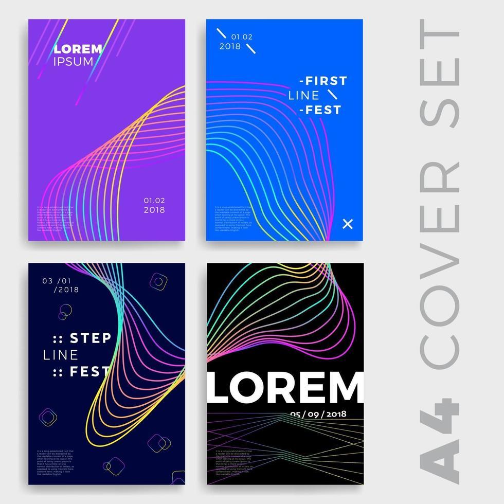 cartel geométrico de onda abstracta o conjunto de portada vector