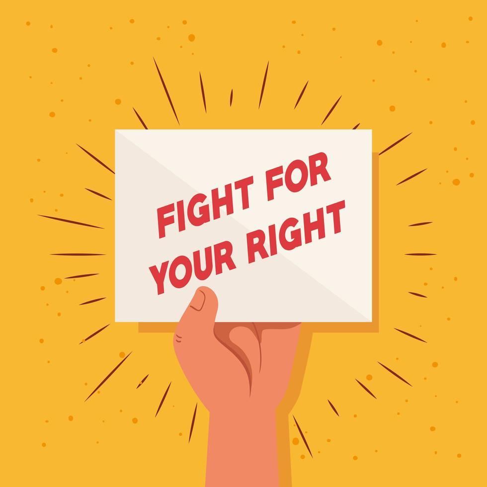 revolución, protesta levantó el brazo puño para luchar por su derecho vector