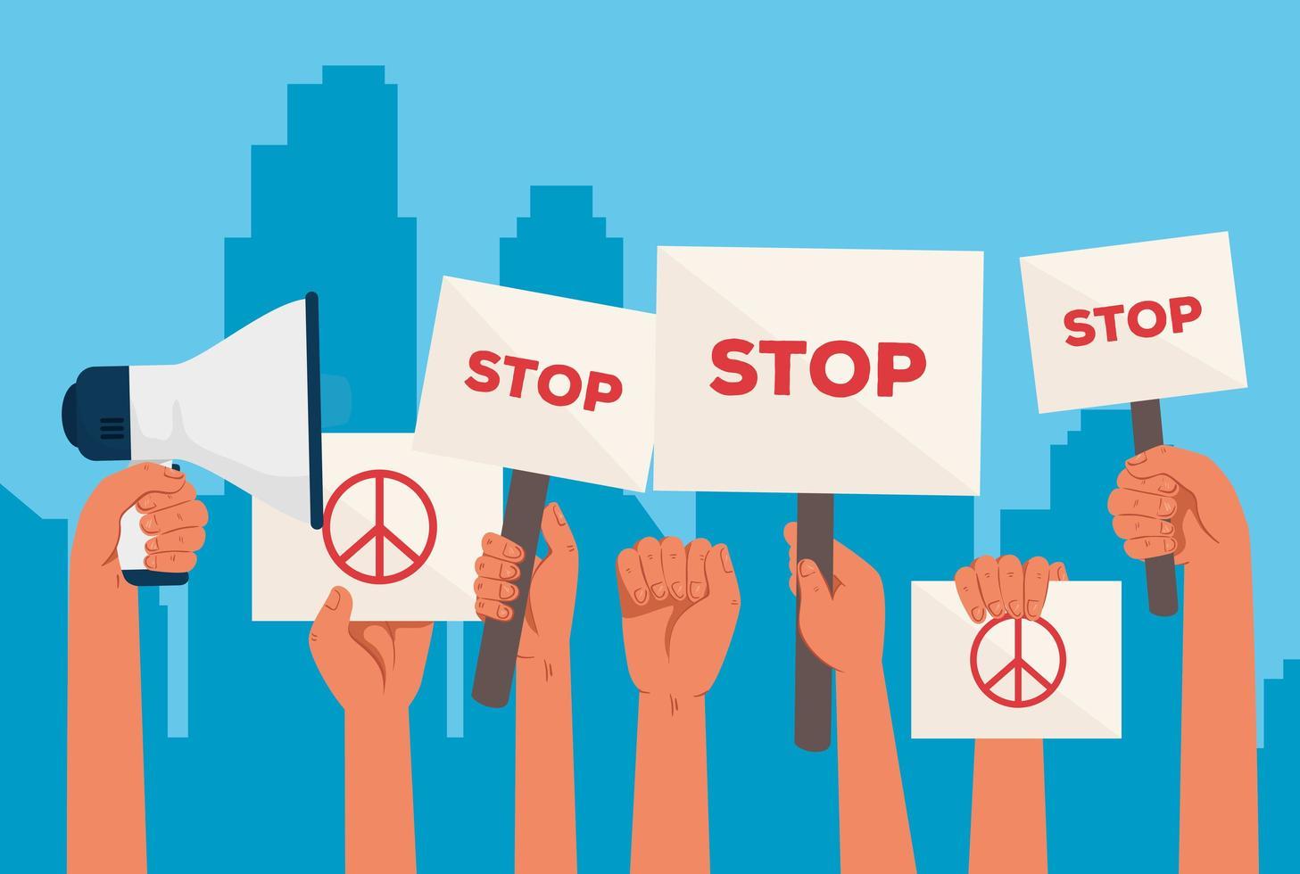 manos levantadas sosteniendo carteles de protesta vector