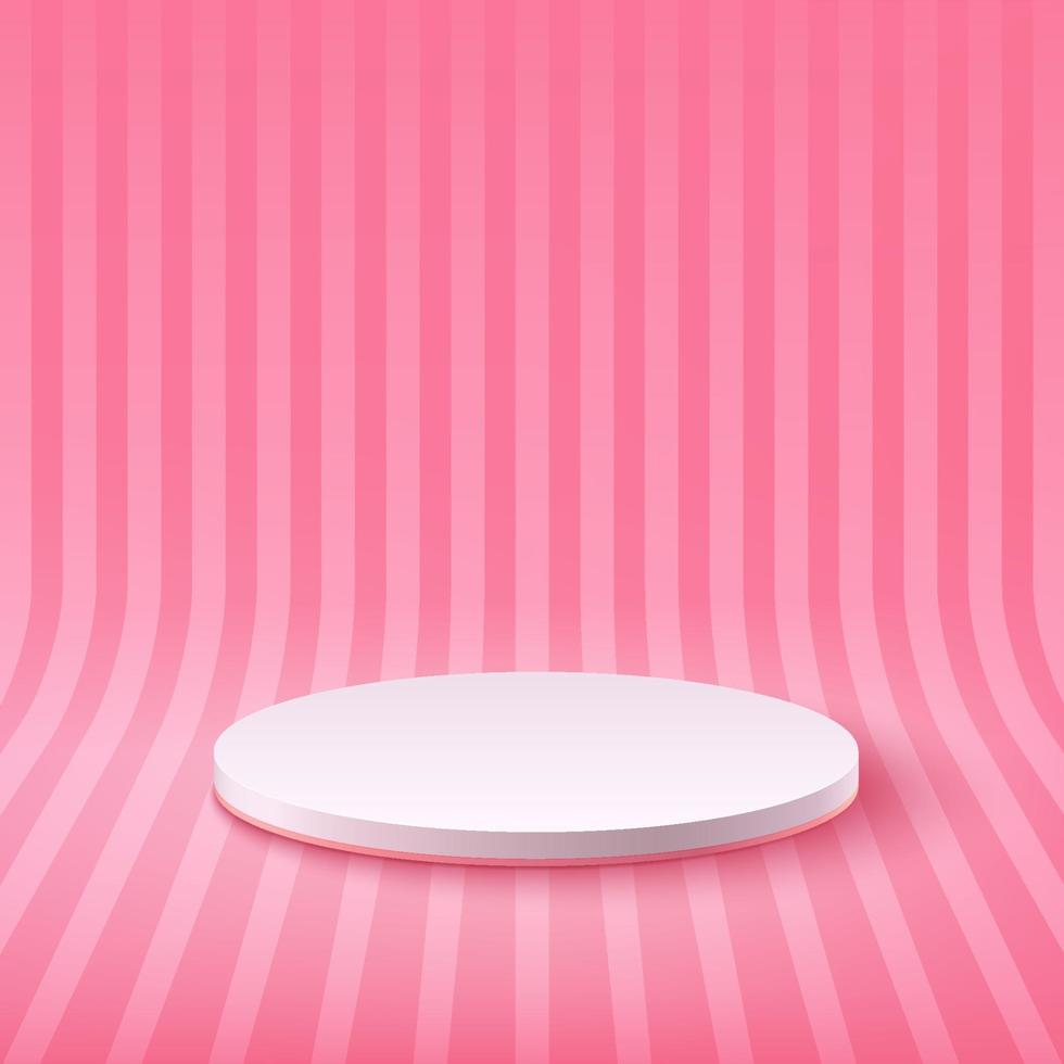Abstract round display for product on website in modern. Background rendering with podium and minimal pastel perspective stripes texture wall scene, 3d rendering geometric shape white and pink color. vector