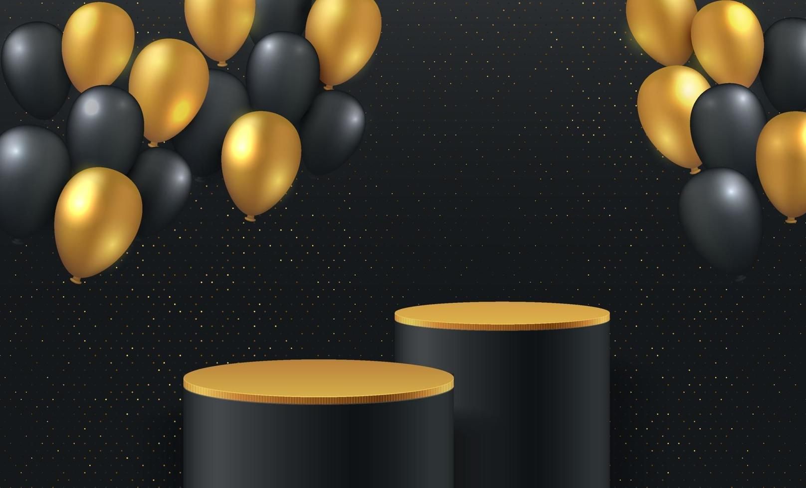 Luxury gold and black balloon background vector 3d rendering with cylinder podium. Black friday minimal rendered scene 3d with golden podium platform. stand to show product. Stage showcase background.