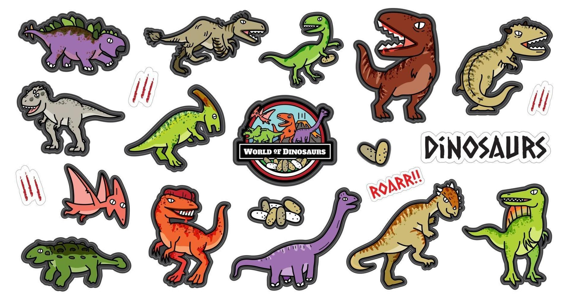 Dinosaurus character design cartoon set. vector