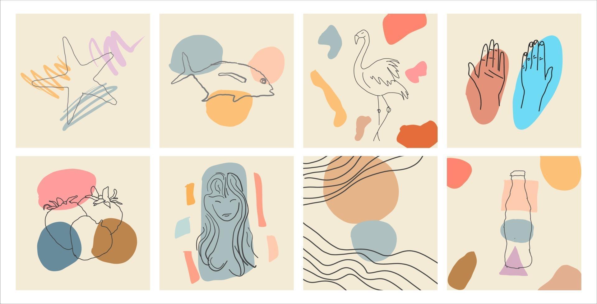 Abstract contemporary modern retro outline poster set vector