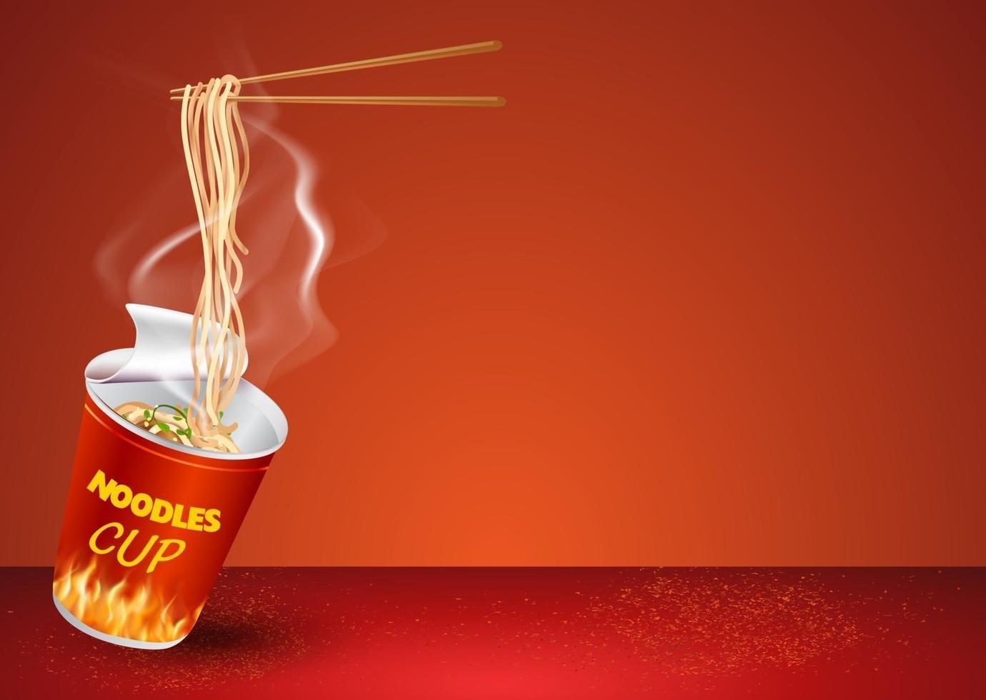 Instant cup noodles design template vector