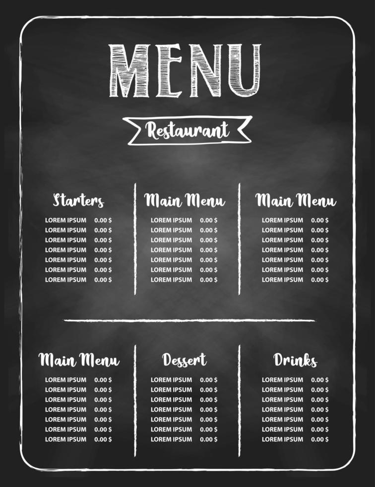 Restaurant food menu design set vector
