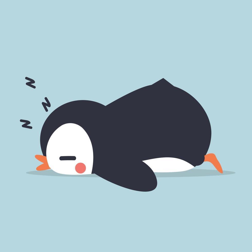 pequeño pingüino ssleep dibujos animados vector
