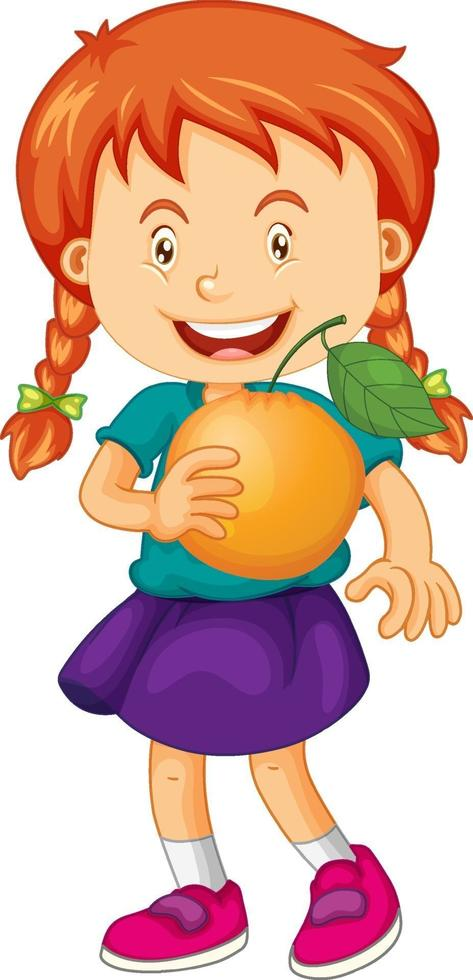 personaje de dibujos animados de niña feliz sosteniendo una naranja vector