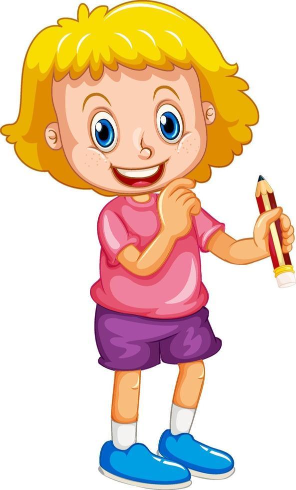 personaje de dibujos animados de niña feliz sosteniendo un lápiz vector