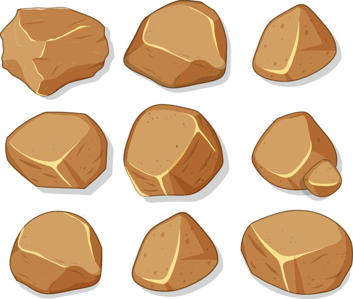 Conjunto de piedras marrones aislado sobre fondo blanco. vector
