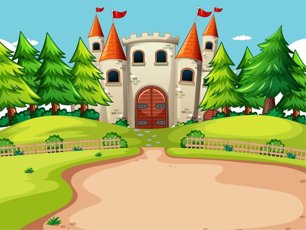 escena al aire libre con gran castillo y elementos de la naturaleza vector