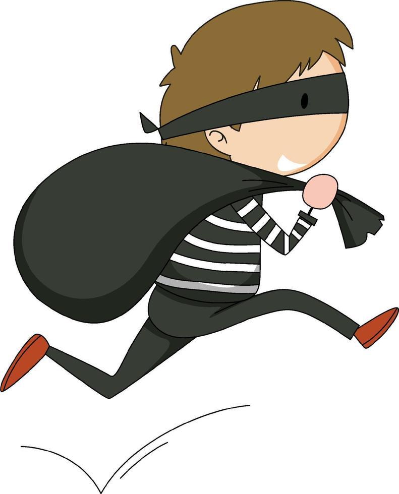 Un personaje de dibujos animados de doodle de ladrón aislado vector