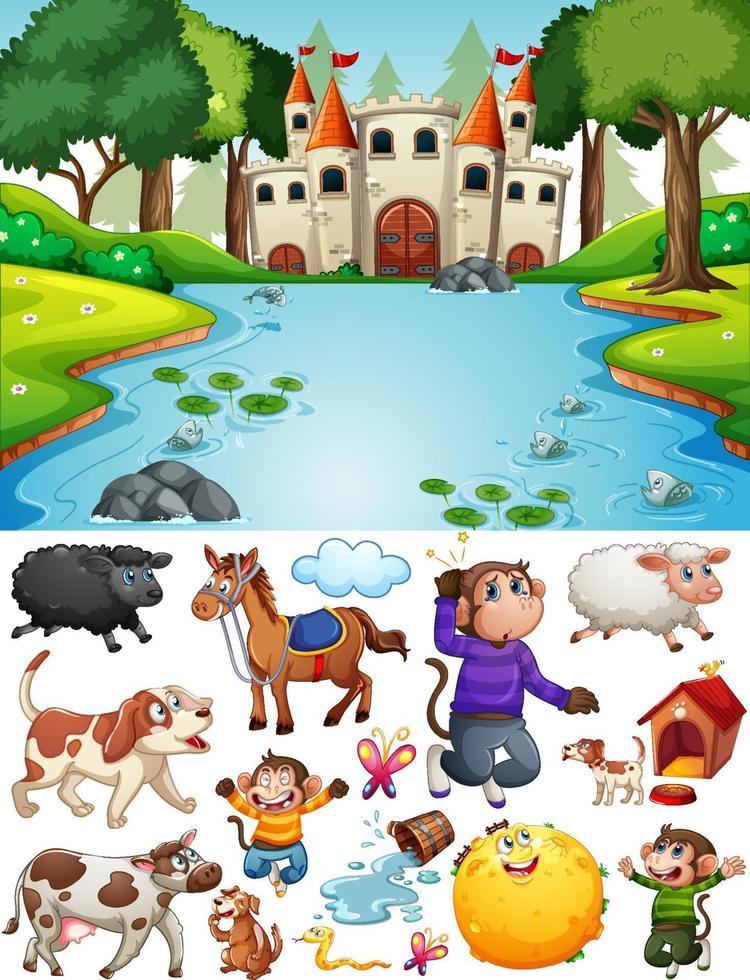 Castillo en la escena del bosque con personajes y objetos de dibujos animados aislados vector