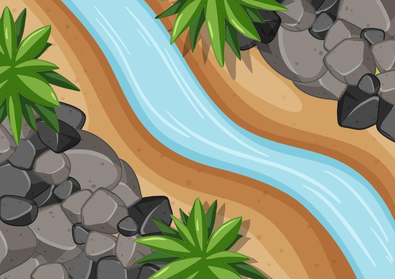 Vista aérea del río de cerca con elemento forestal. vector