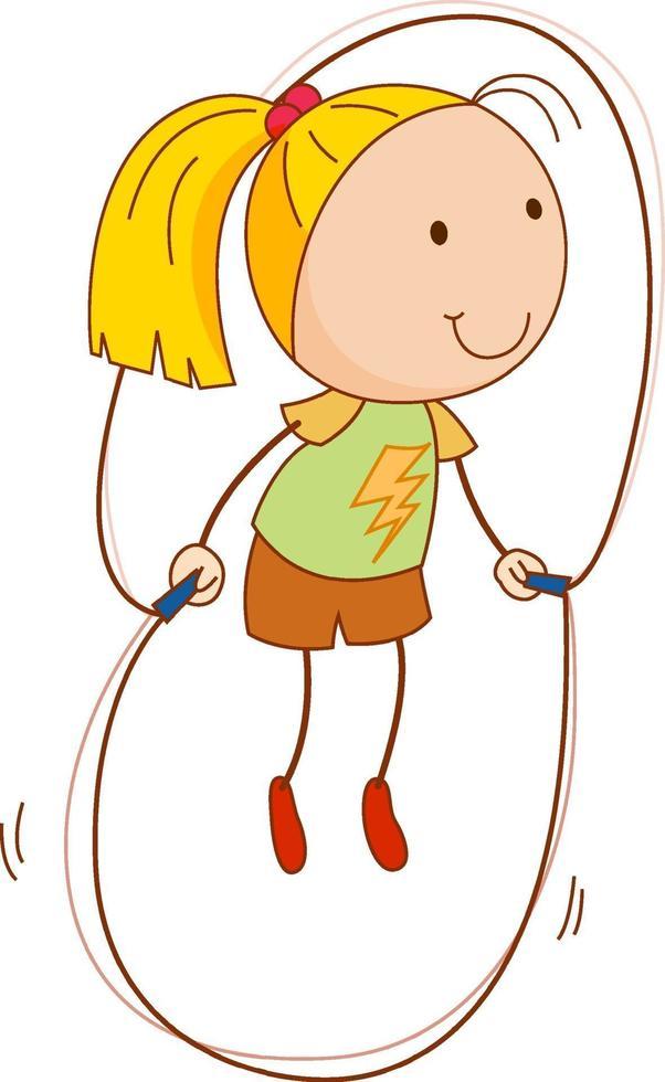 un personaje de dibujos animados de niña en estilo doodle aislado vector