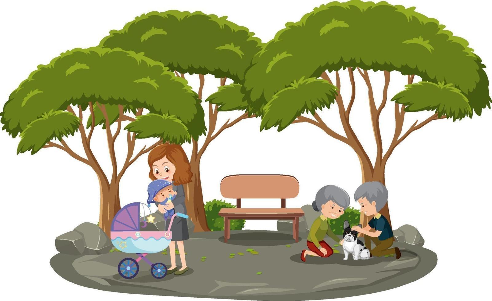 madre con sus hijos en el parque aislado vector