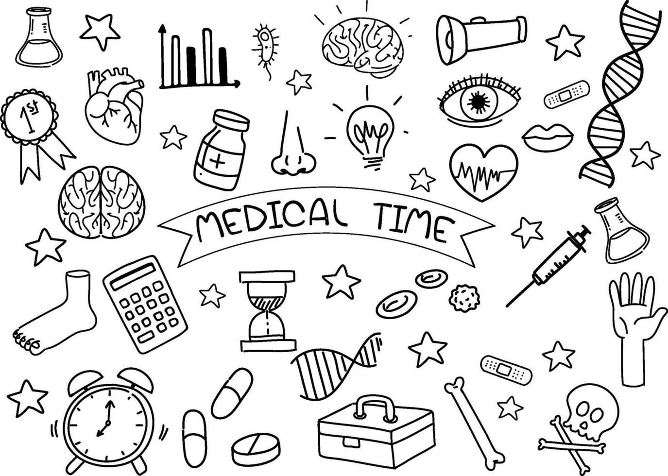 elemento médico en estilo doodle o boceto aislado sobre fondo blanco vector