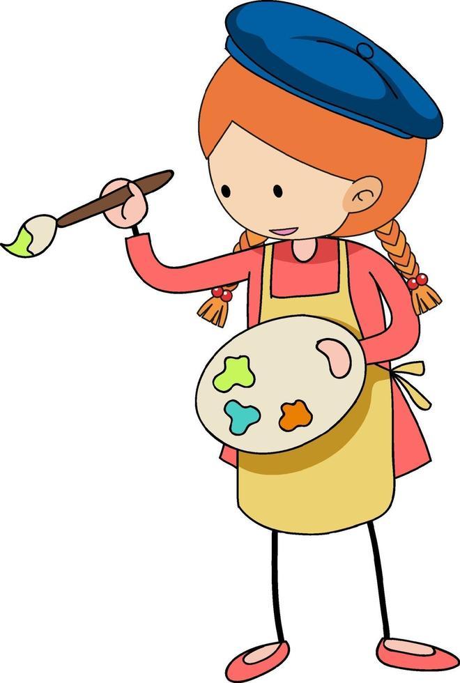 pequeño artista sosteniendo el personaje de dibujos animados de paleta de colores aislado vector
