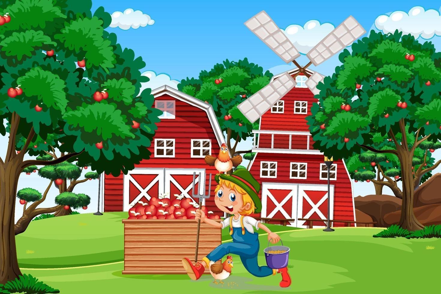 escena de la granja con granero rojo y molino de viento vector