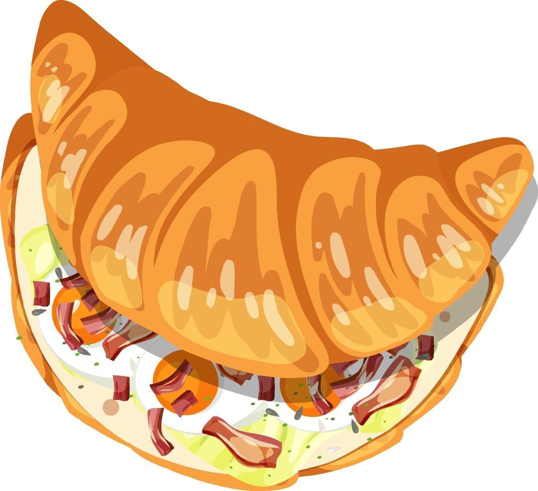 Vista superior del croissant con huevo y tocino dentro vector