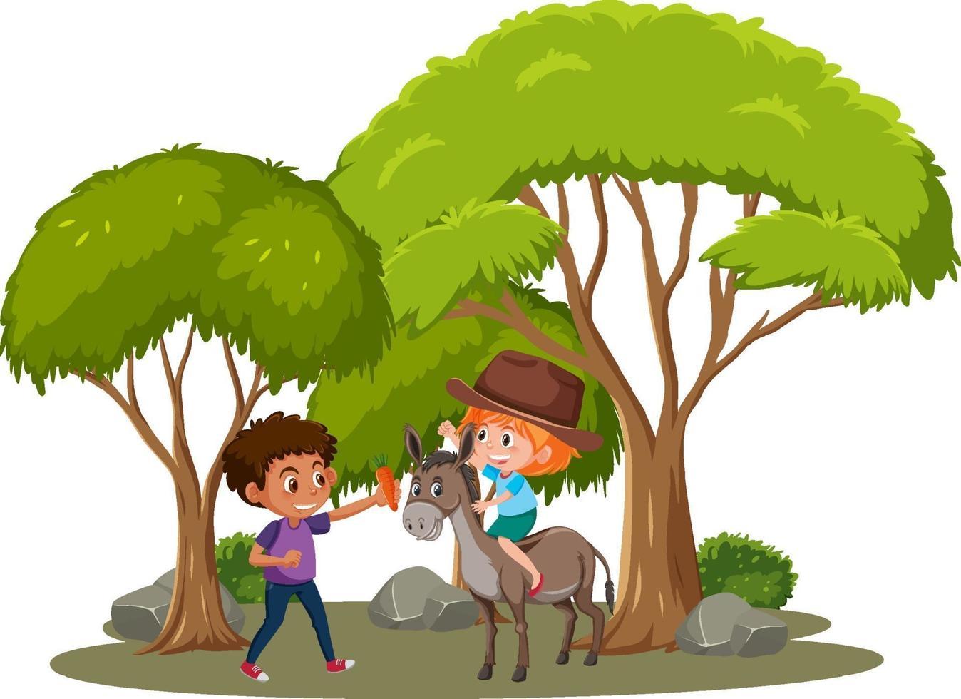 niña montando a caballo aislado vector
