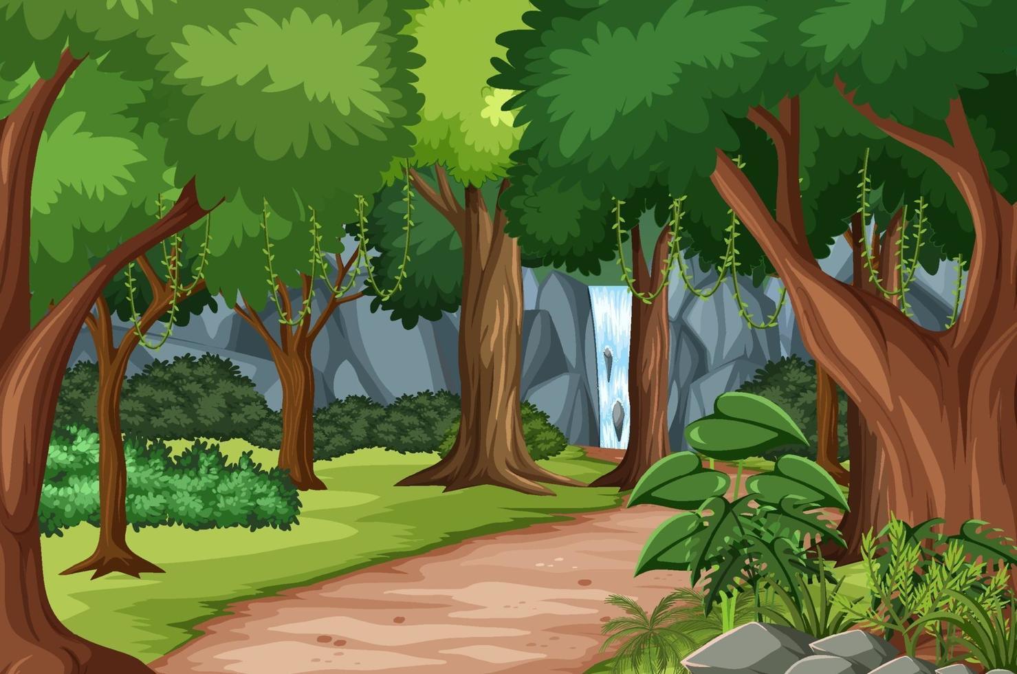 Escena del bosque con pista de senderismo y muchos árboles. vector