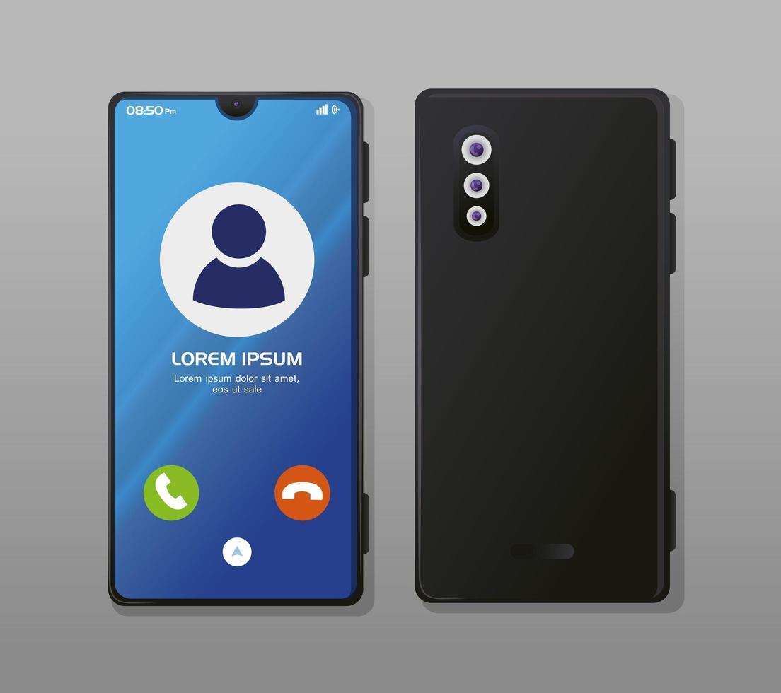 maqueta de teléfonos inteligentes realistas con llamada en pantalla vector