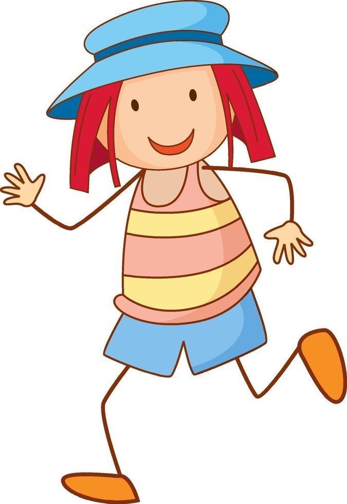 una niña con sombrero personaje de dibujos animados en estilo doodle vector