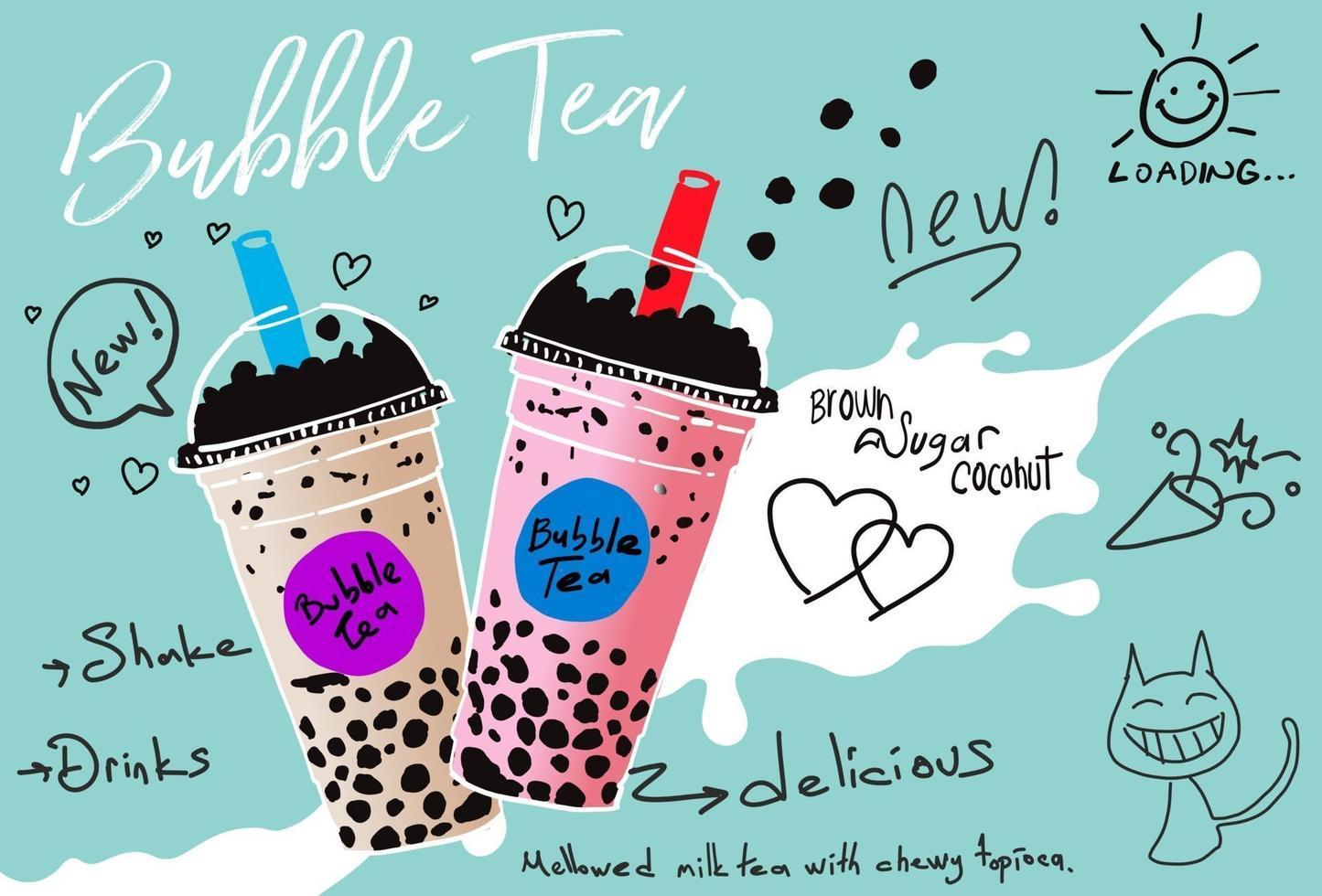 té con leche de burbujas, té con leche de perlas, diferentes tipos de boba. deliciosas bebidas. vector
