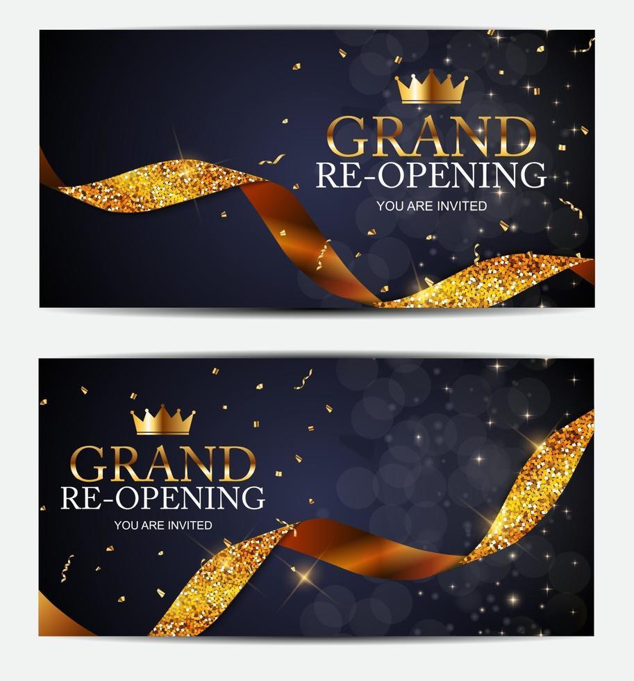 fondo del cartel del negocio de la tarjeta de la gran reapertura. ilustración vectorial vector