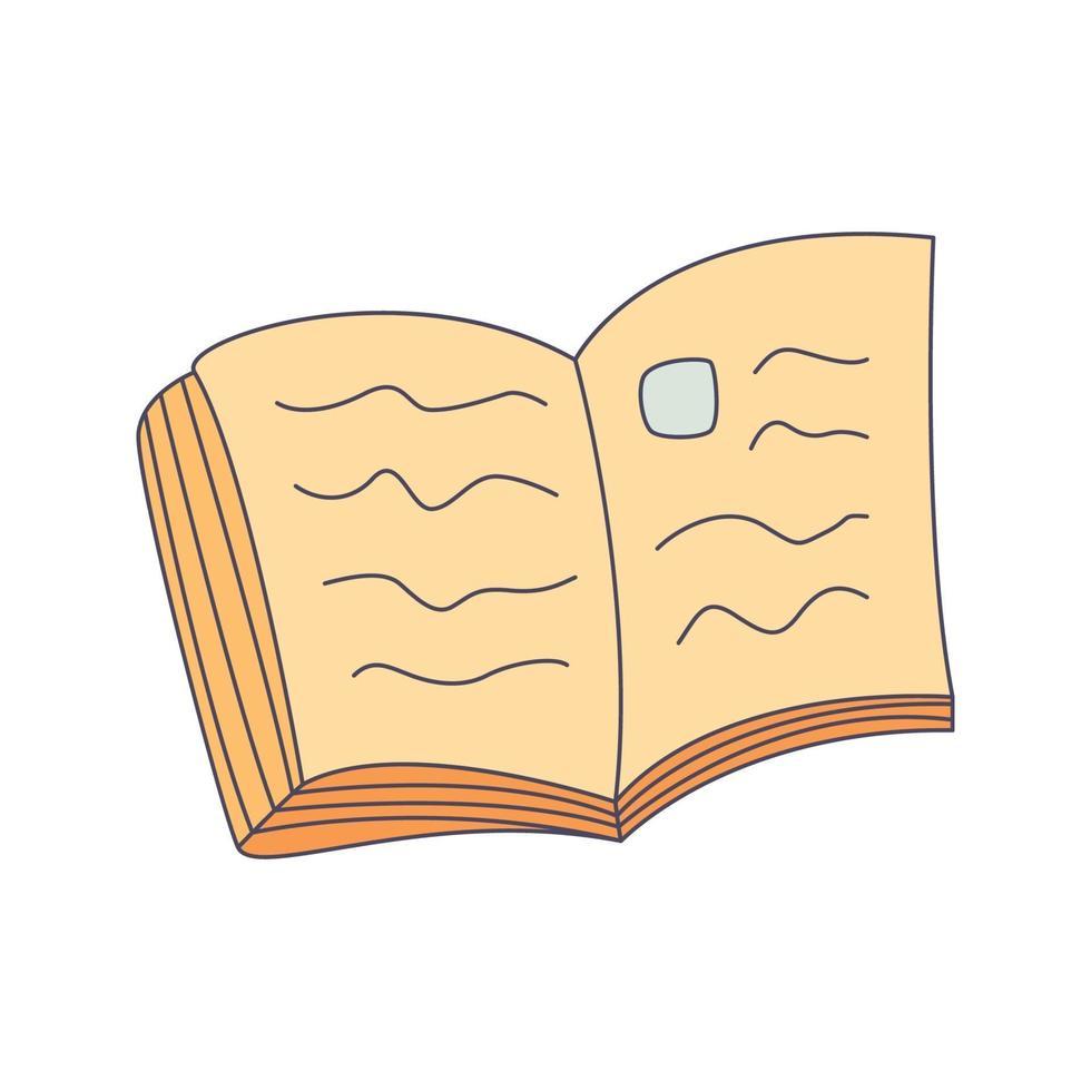 libro, caricatura, garabato, mano, dibujado, concepto, vector, kawaii, ilustración vector