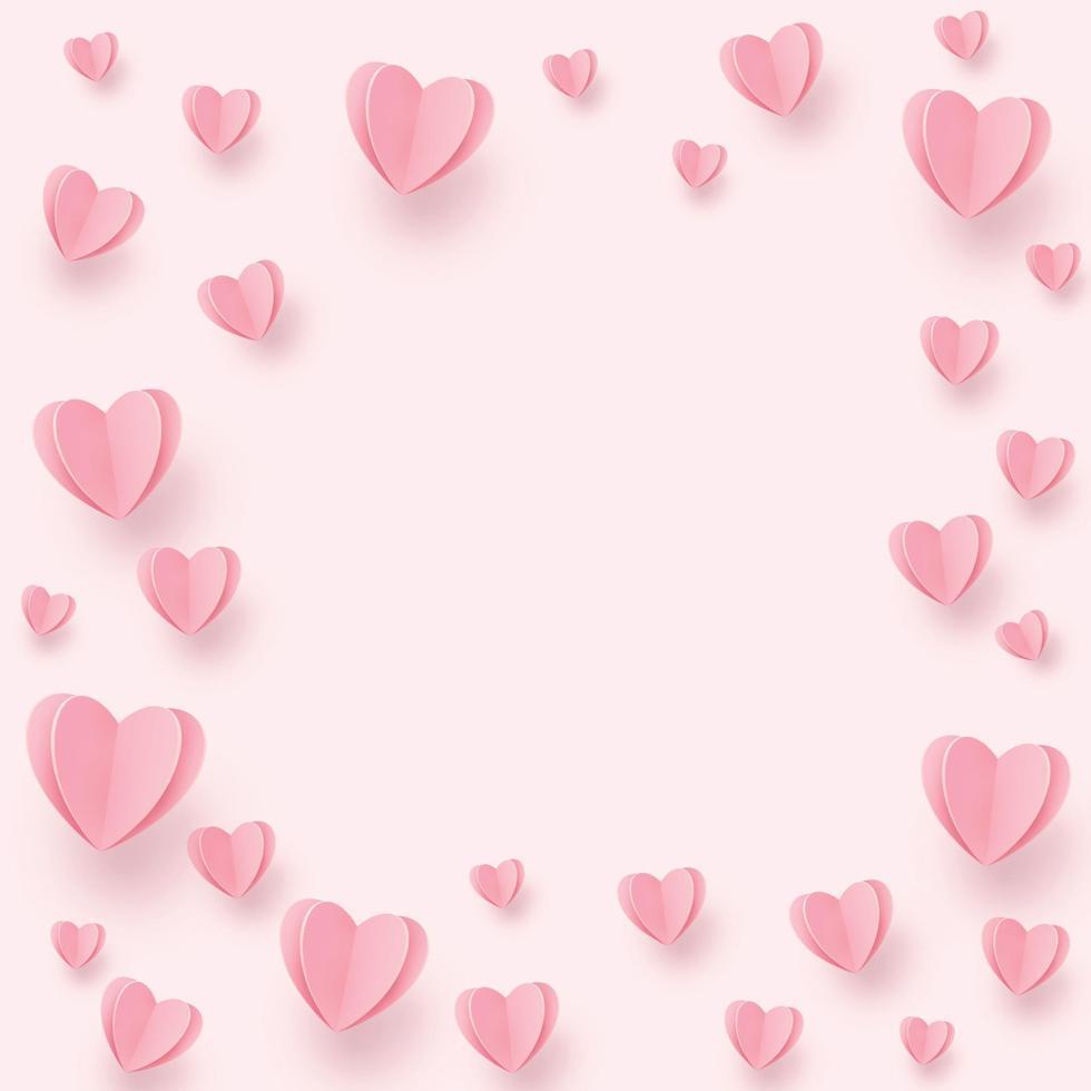 suaves corazones de color rosa-rojo sobre un fondo rosa vector