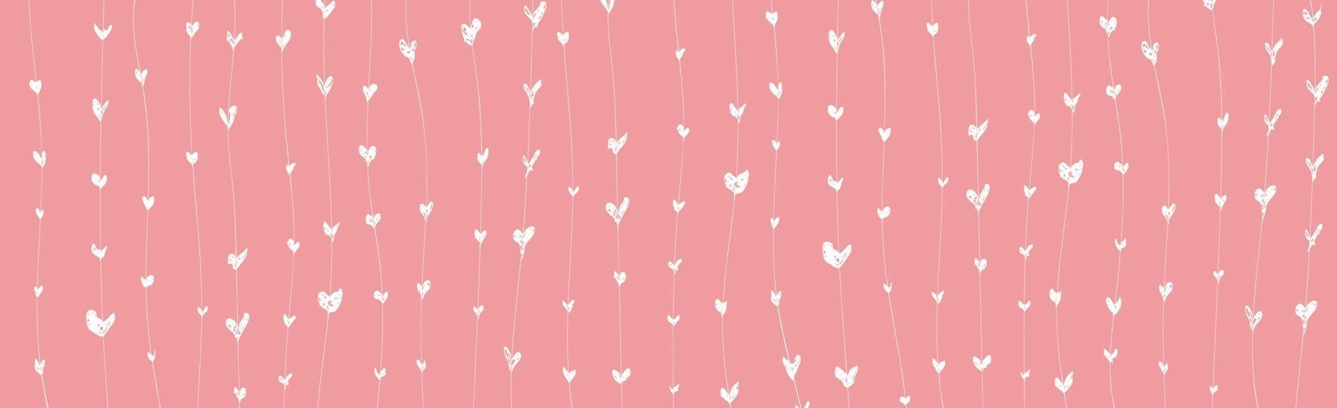 Abstract pink background with white painted hearts - Vector illustration