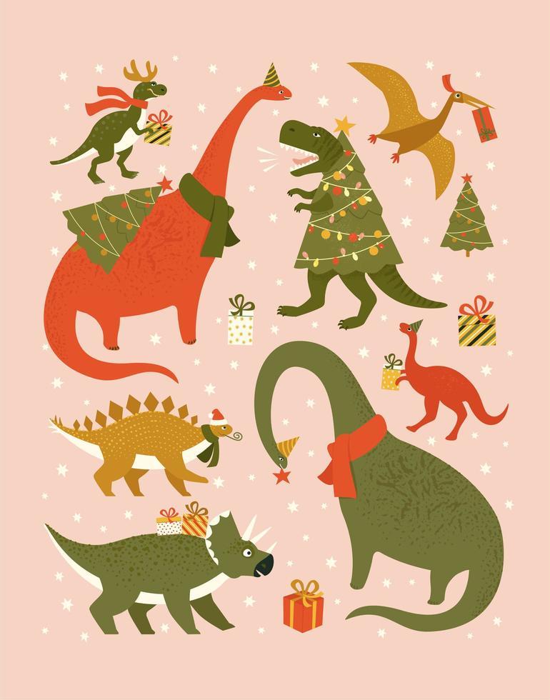 fiesta de navidad con dinosaurios festivos. dinosaurios con sombrero de santa decoran luces de guirnaldas de árboles de Navidad. vector lindos personajes de invierno.