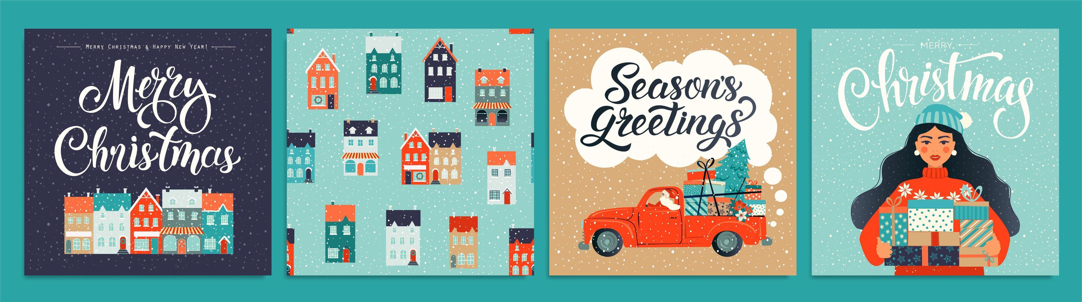 conjunto de plantillas de Navidad y año nuevo para scrapbooking de saludo, felicitaciones, invitaciones, etiquetas, pegatinas, postales. Conjunto de carteles de Navidad. ilustración vectorial. vector