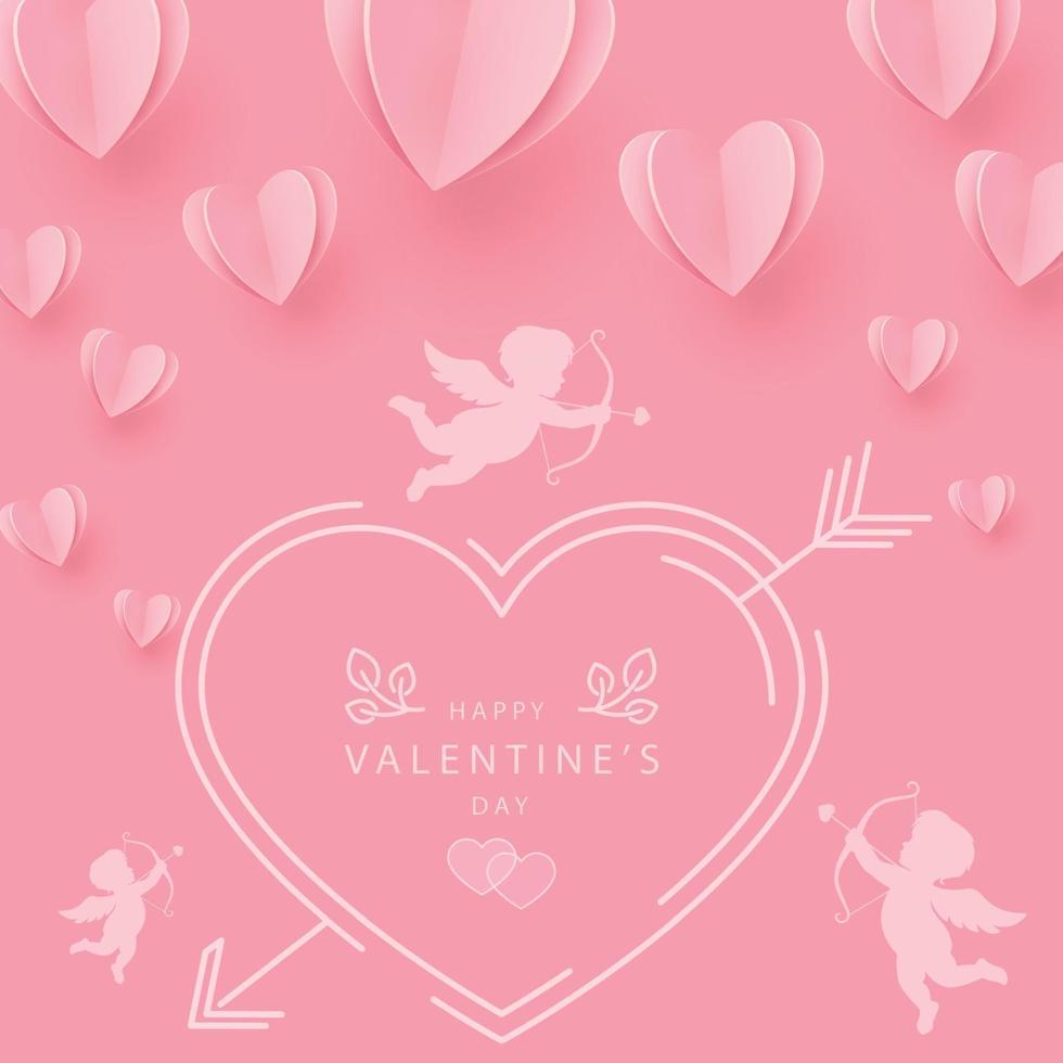 corazones suavemente rosa-rojo en forma de un gran corazón sobre un fondo rosa vector