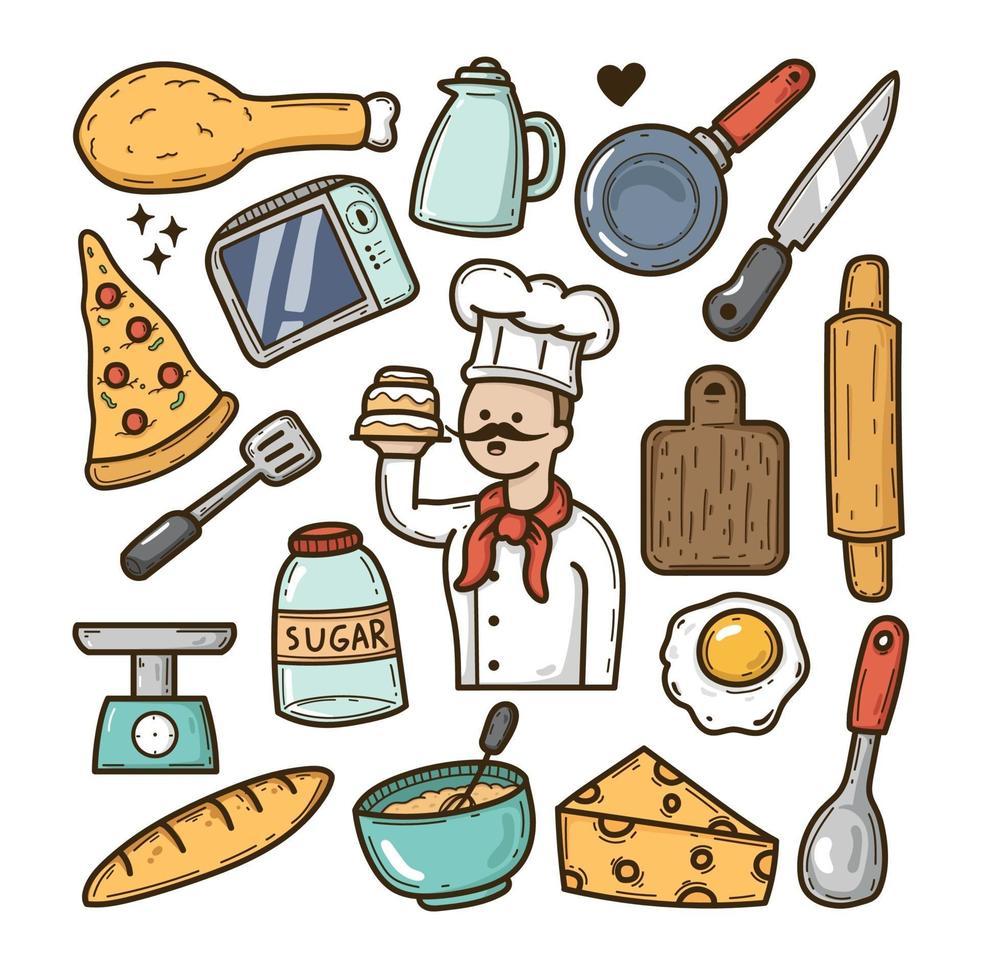 cheff iconos dibujados a mano doodle vector