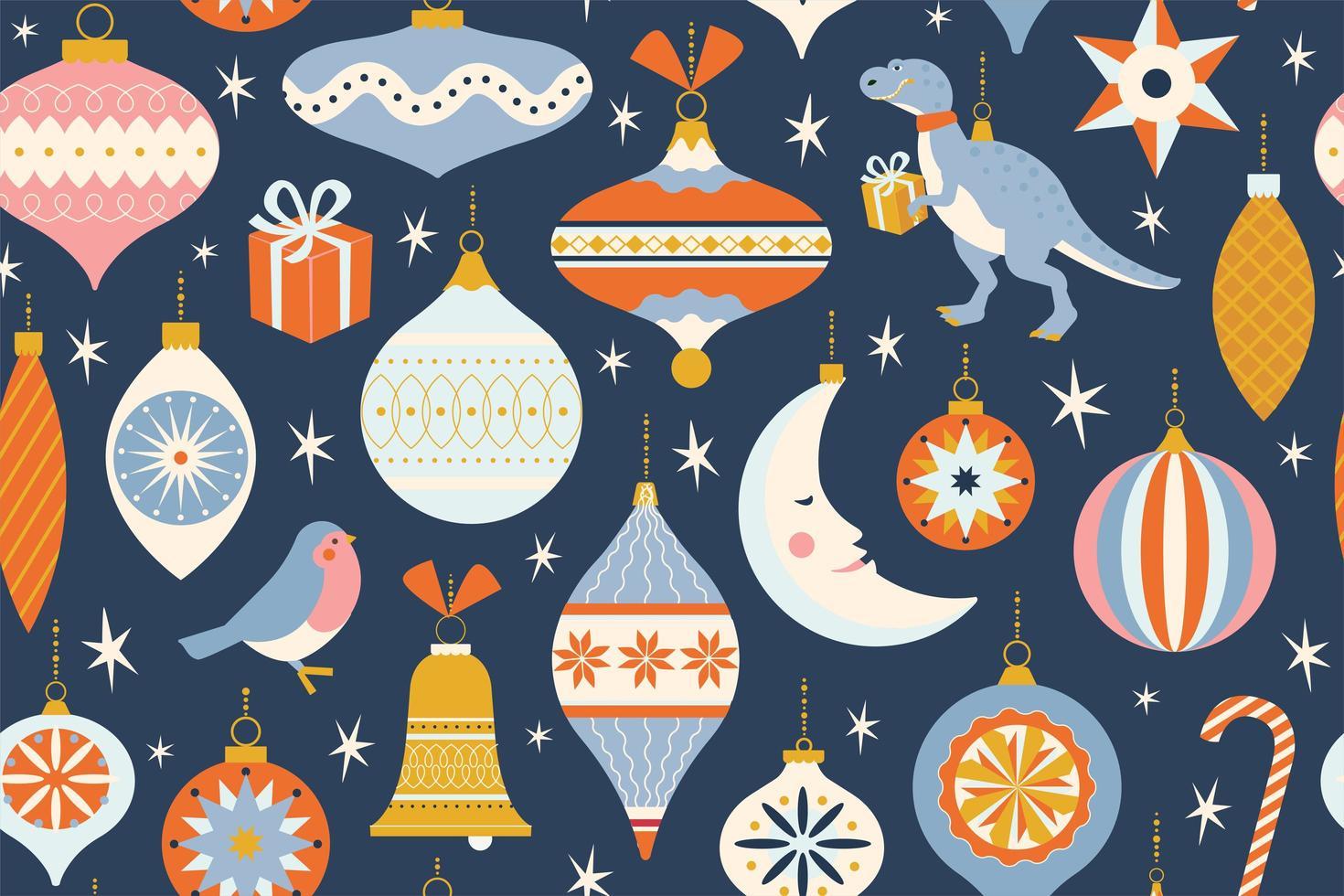 Feliz Navidad y año nuevo tarjeta con varios juguetes navideños y presente en estilo retro de mediados de siglo moderno. vacaciones de invierno de patrones sin fisuras en el vector. vector