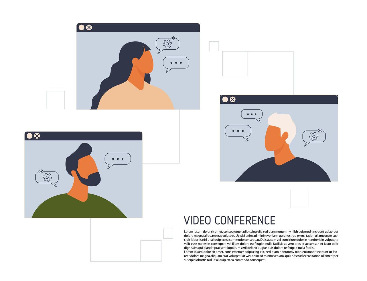 Stay and work from home. Video conference illustration. Workplace, laptop screen, group of people talking by internet. Stream, web chatting, online meeting friends. Coronavirus, quarantine isolation. vector