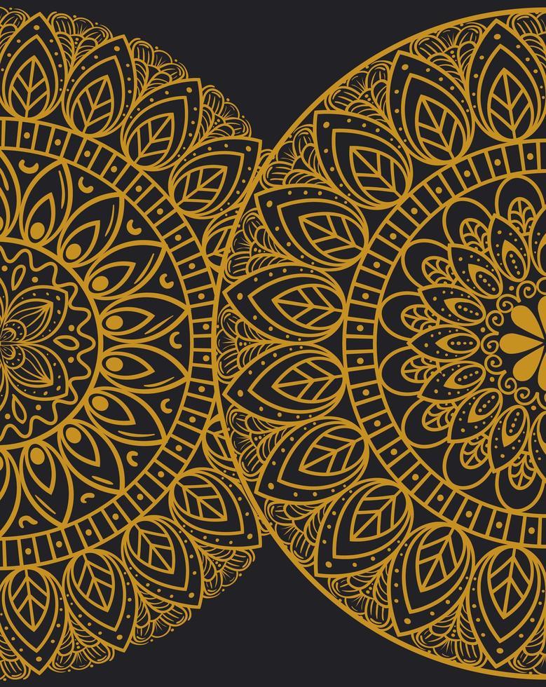 golden mandalas on dark background vector