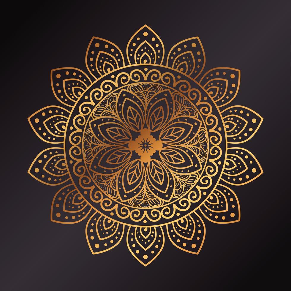 Golden floral mandala background vector