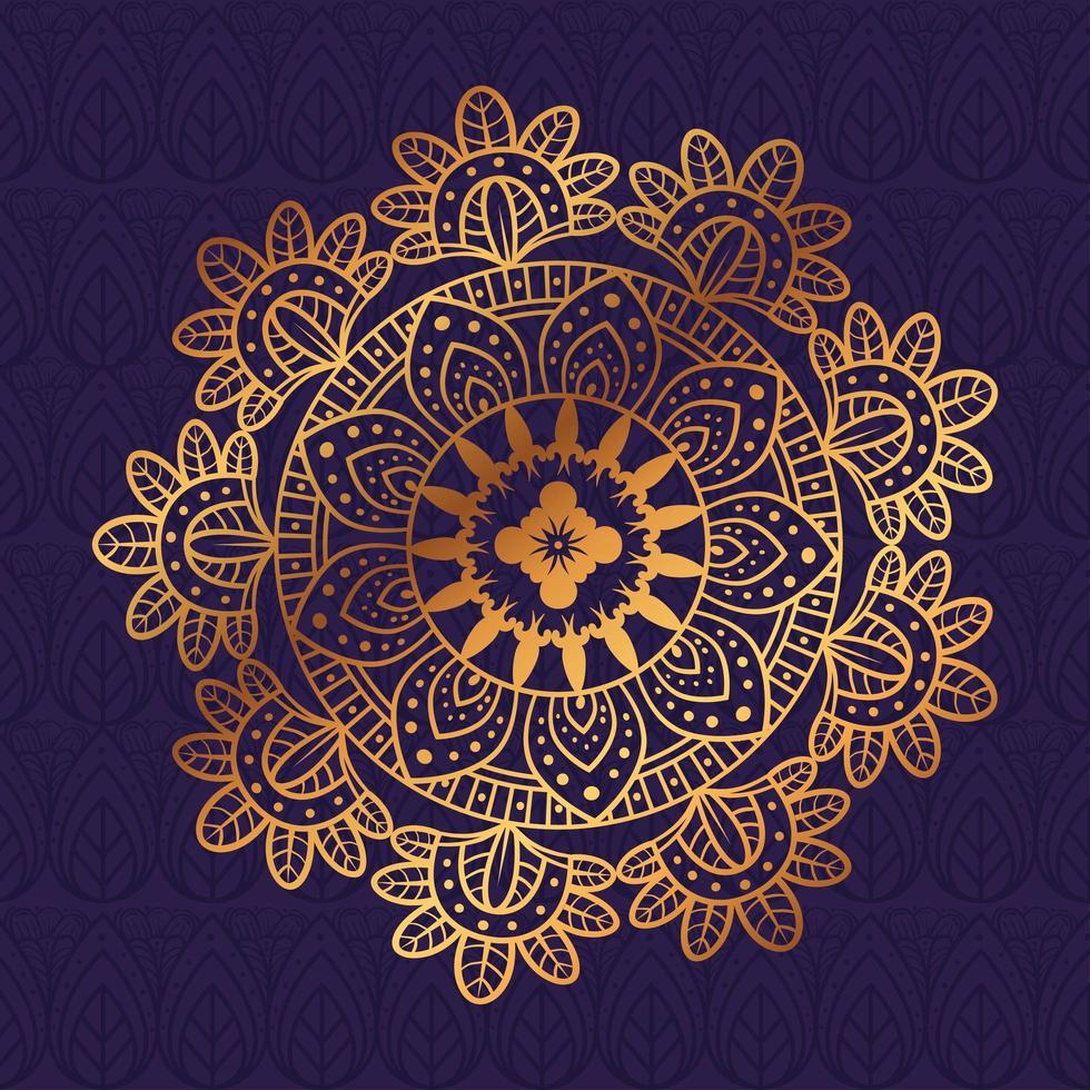 Golden floral mandala, ornamental decoration vector