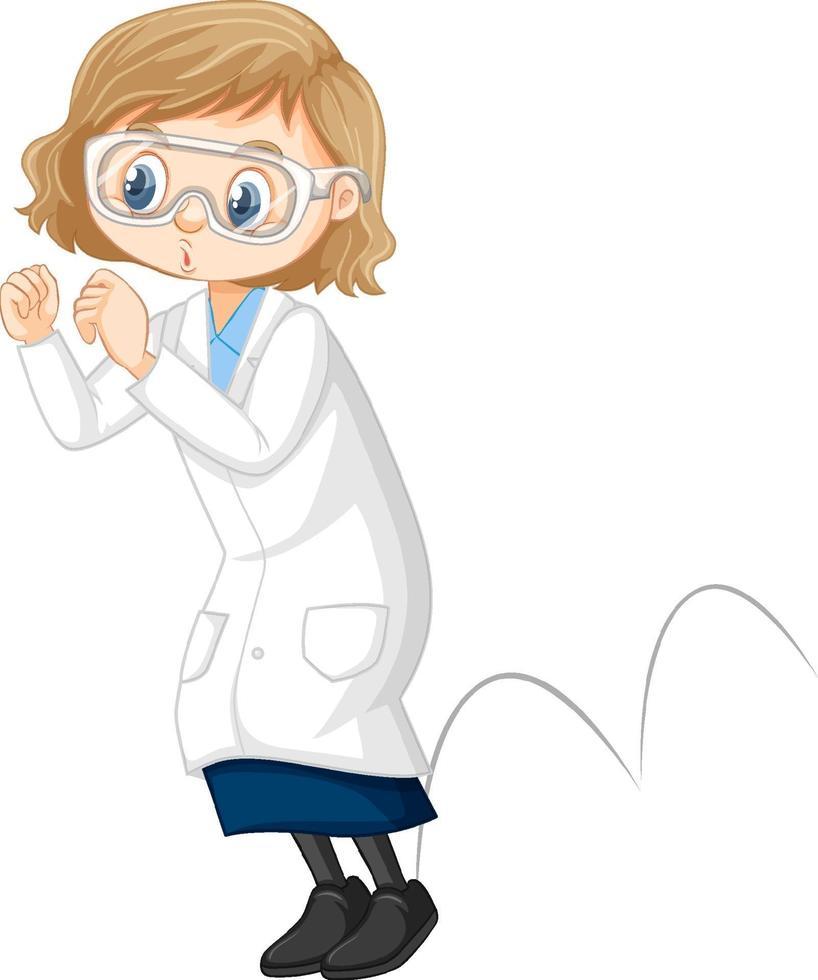 personaje de dibujos animados de niña linda con bata de laboratorio vector