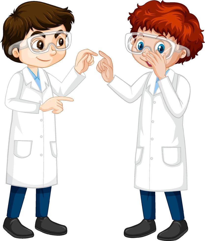 dos jóvenes científicos hablando entre sí vector