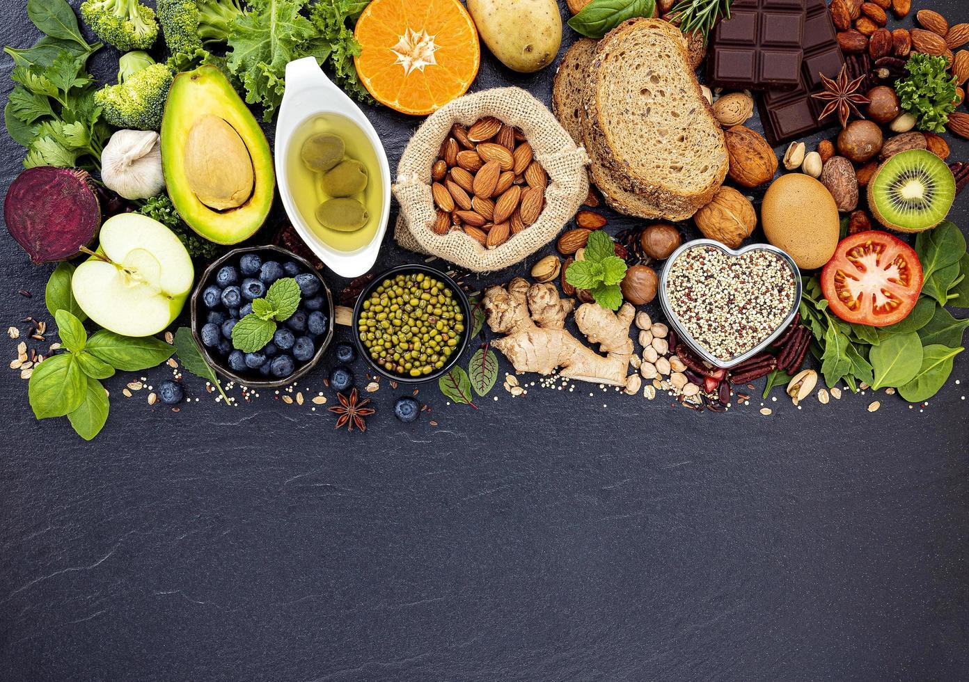 Fresh ingredients on dark slate photo