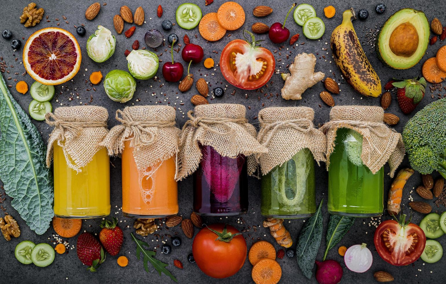 Colorful jams with fresh ingredients photo